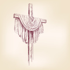 wood cross hand drawn vector llustration realistic sketch