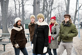 Group of young friends outside in winter