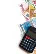 euro banknotes and calculator