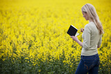 A young woman sketching a picture of a rape seed field