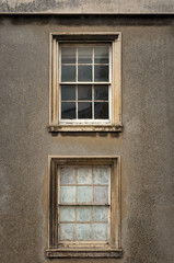 Two old wooden sash windows
