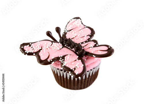 Pink Chocolate Butterfly Cupcake