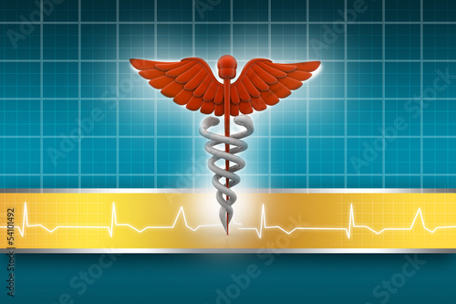 3d medical logo on a abstract  background