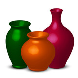 Vector illustration of colorful vases