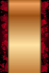 Vector gold background with red hearts