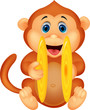 Cute monkey playing cymbal