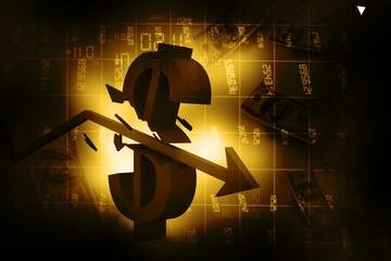 3d arrow smashing dollar sign. Financial crash