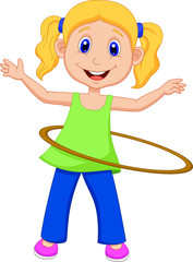 Cute girl twirling hula hoop