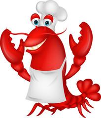 Cute lobster chef cartoon