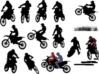 isolated silhouettes of men on motorcycles