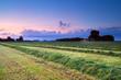 hay on field at sunrise