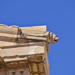 Parthenon, ancient greek temple detail, lion's head