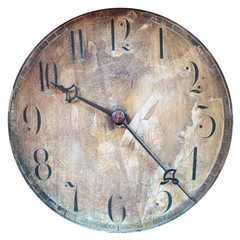 Vintage weathered clock face isolated on white
