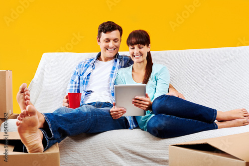 sofa couple relaxing