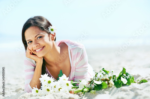 beach relaxing woman