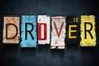 Driver word on vintage car license plates, concept sign