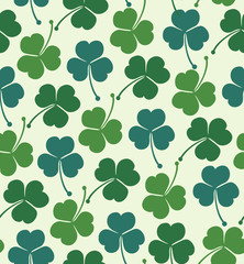 Seamless summer pattern with clover, trefoil