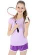Teenager spielt Badminton