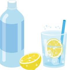 炭酸水とレモンで作るレモンスカッシュ
