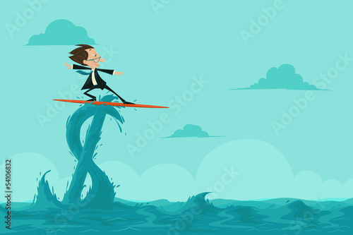 Businessman surfing on Dollar Wave