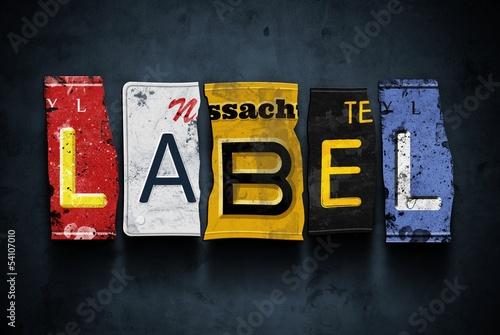 Label word on vintage car license plates, concept sign
