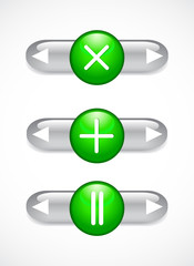 Glass green buttons and arrows. Set.