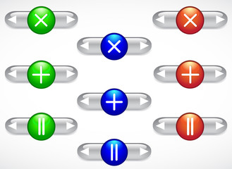 A set of multi-colored glass buttons