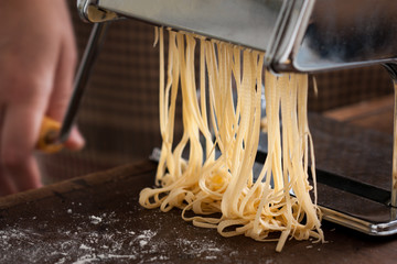 Making pasta with traditional machine