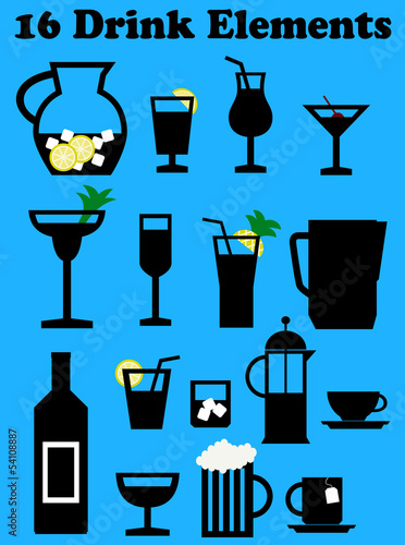 a collection of food and drink elements