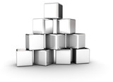 Stacked silver cubes pyramid shape
