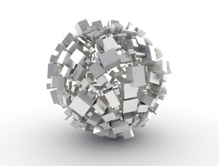 Abstract 3d shape metal cubes