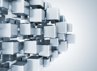 3d metal cubes abstract background