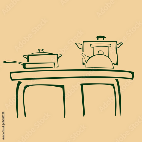 cartoon illustration of silhouette pans on kitchen
