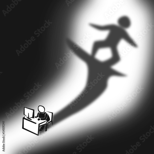 cartoon illustration of office man dreaming