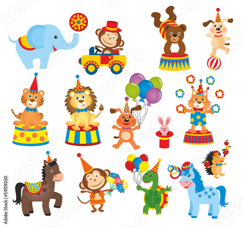 set of animals in circus