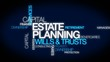 Estate planning capital wills & trusts word tag cloud animation