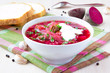 Traditional Russian borsch soup with beef, beet and sour cream