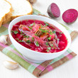 Traditional Russian borsch soup with beef, and beet