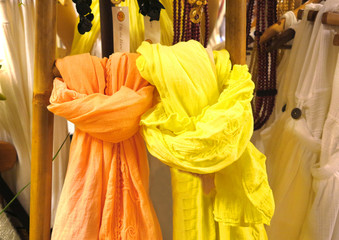 Colored scarves yellow and orange