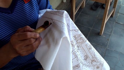 Hand painting of the Javanese traditional batik.