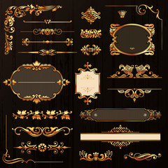 Golden Calligraphic Design Elements And Page Decoration