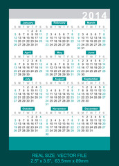 "pocket calendar 2014 vector SIZE: 2.5"" x 3.5"",  63.5mm x 89mm"