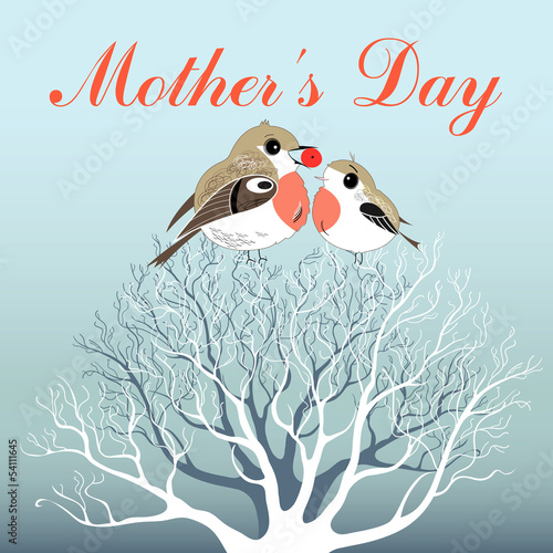 Mother's Day greeting card with birds