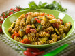 pasta with  zucchinis and tomatoes , selective focus