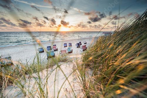canvas print picture Sonnenuntergang in den Dünen