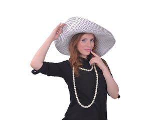 девушка в большой белой шляпке, лето и отдых