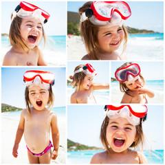 Bambina al mare con maschera Collage