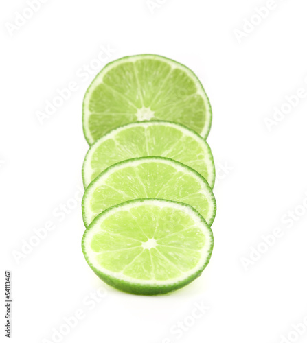 slices of lime, Isolated on white background