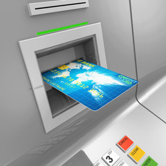 Close Up of ATM Machine with Credit Card