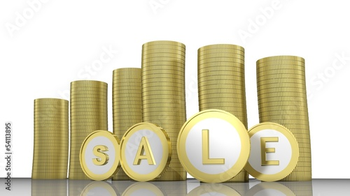 Sale word written on golden coins
